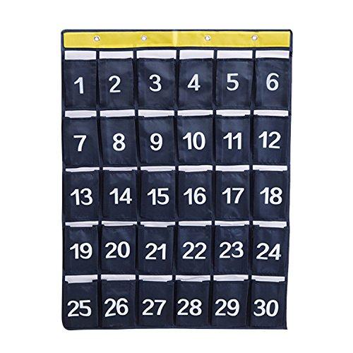NOTAG Nummeriert Klassenzimmer Pocket Diagramm, Aufhängen Pocket Organizer für Handys Halter Wand Organizer Mit 4 Haken, 2 Größe (Navy blau1, M)