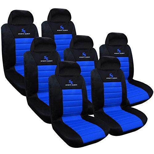 Woltu as7256-7 set coprisedili auto 7 posti seat cover protezioni universali per macchina tessuto poliestere nero/blu