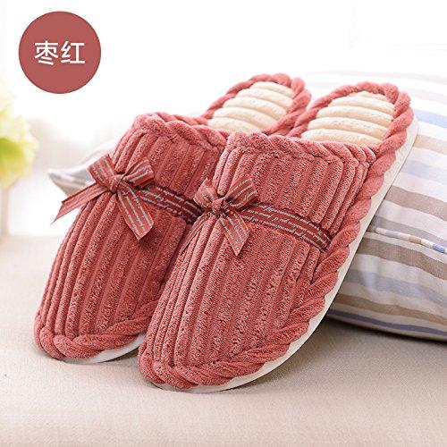 DogHaccd pantofole,Autunno Inverno arcobaleno pantofole di cotone pacchetto con un soggiorno di spessore, antiscivolo caldo uomini e donne giovane extra spessa pantofole di peluche Rosso2