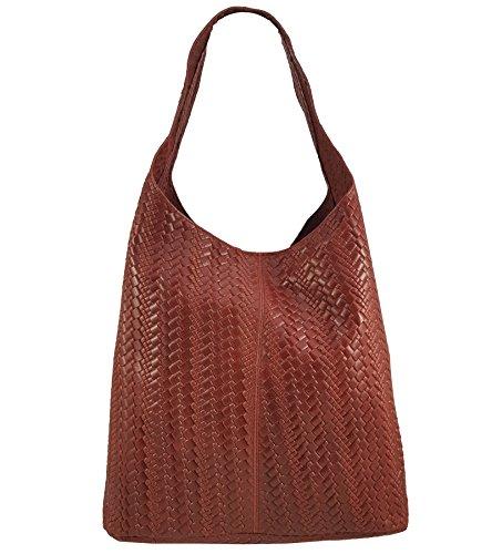 Freyday Damen Ledertasche Shopper Wildleder Handtasche Schultertasche Beuteltasche Metallic look (Rot Geflochten) (Damen Echt Leder Wildleder)