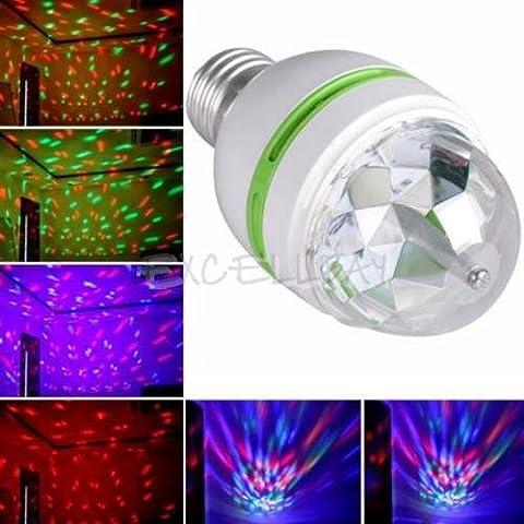 E273W Colorful auto rotante RGB lampadina LED fase luce natale partito dj lampada disco