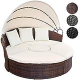 Miadomodo Hochwertige Polyrattan Lounge Sonneninsel  180 cm (Farbwahl) mit Tisch Wohlfühllandschaft inkl. Kissen aufklappbarem Sonnendach (Braun)