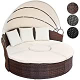 Miadomodo Rattan Sun Lounger Ø 180 cm (Choice of Colours) Height Adjustable Sun Day Bed with Table Garden Furniture Set (Brown)