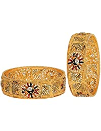 Aabhu Gold Plated Enamel Style Gold Plated Bangle Kada Set Jewellery For Women And Girl - B0785PR9GM