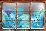 Stil.Zeit türkise Lilien B&W Detail Fenster im 3D-Look, Wand- oder Türaufkleber Format: 92x62cm, Wandsticker, Wandtattoo, Wanddekoration