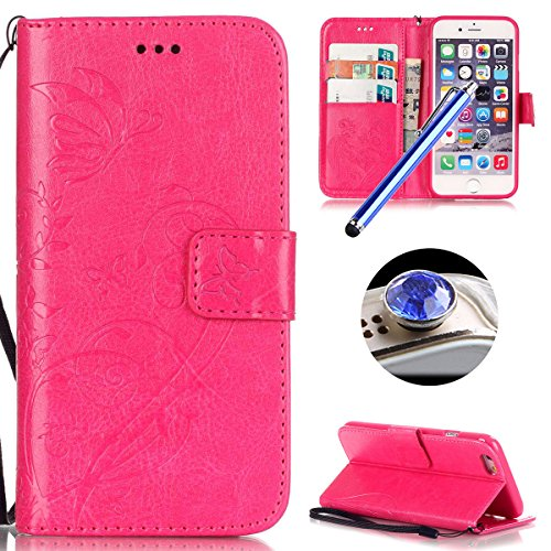 Cuir PU Coque pour Apple iPhone SE,iPhone 5/5S,Etsue Fine Folio Coque de Téléphone Mobile (Papillon Noir Motif) pour Apple iPhone SE,iPhone 5/5S,Porte-carte Support Fermeture Aimantée Portefeuille Poc Papillon rose red