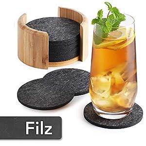 Sidorenko Filz Untersetzer rund für Gläser – 10er Set Ink. Box – Design Glasuntersetzer in dunkelgrau für Getränke…