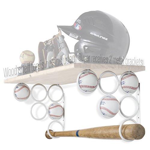 Wallniture Baseball Softball Bat Rack-Sport Zubehör-Holz Regal ist Nicht im Lieferumfang Enthalten-Wand montiert Regalträger Nur Eisen-Set von 2, Weiß -