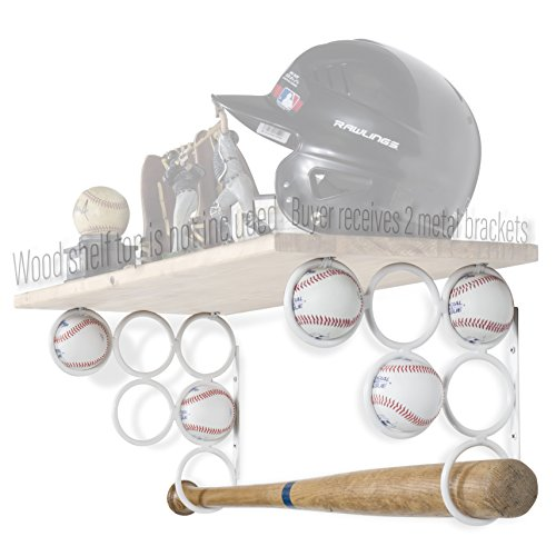 Baseball-regal (Wallniture Baseball Softball Bat Rack-Sport Zubehör-Holz Regal ist Nicht im Lieferumfang Enthalten-Wand montiert Regalträger Nur Eisen-Set von 2, Weiß)