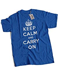 bybulldog® Keep Calm and Carry On Mens Premium T-Shirt British World War II Poster Choice of 15 Colours Small to 3XL