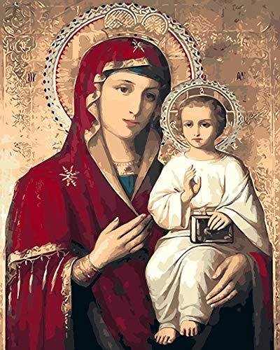 haotong11 Decoración de Bricolaje Madre de la Madre Prensa Digital Imagen Pintada a Mano Decoración del hogar Virgen María (con Marco Interior) 40x50cm