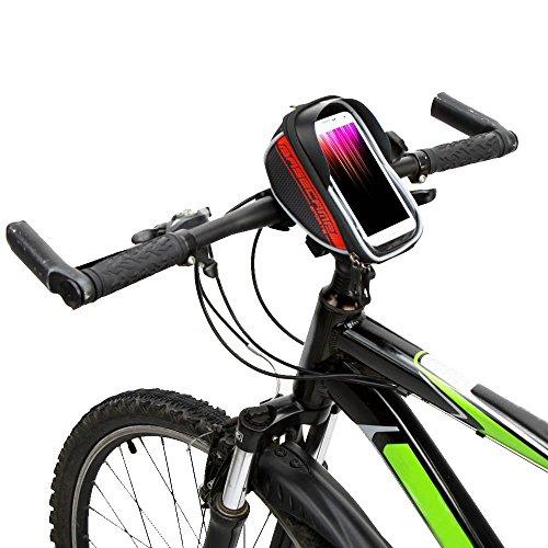 "Fahrrad Lenkertasche - BaseCamp wasserdicht Bergstrasse MTB Bike Fahrrad oberen Frontrahmen Lenkertasche Fahrrad Tasche zum Anfassen fuer 5.9""Handy Blau Rot"