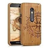 kwmobile Motorola Moto X Play Hülle - Handy Bambus Schutzhülle - Cover Case Handyhülle für Motorola Moto X Play
