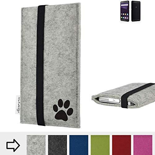 flat.design Handy Hülle Coimbra für ZTE Blade V8 64 GB individualsierbare Handytasche Filz Tasche fair Hund Pfote tatze
