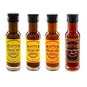 Mexican Tears® - Hot Sauce Weihnachtsbox, Chili Sauce aus Habanero Chili, Chipotle & Meersalz, perfekt zum BBQ, Pulled Pork und zum Würzen von Low Carb Gerichten [4x100ml scharfe Sauce]