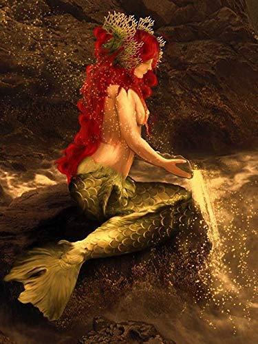 Rahmen-Kunst Keilrahmen-Bild - Babette: Mermaid Play Leinwandbild Meerjungfrau Fantasy Gothic Dark -
