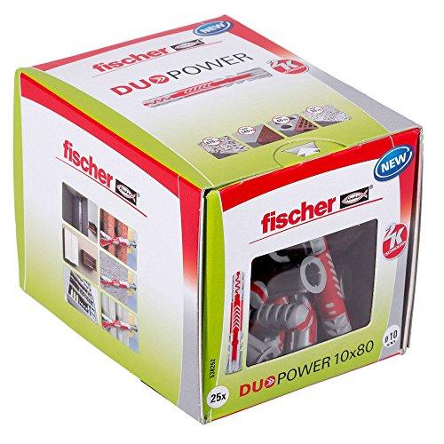 fischer DUOPOWER 10 x 80 - Universaldübel für eine Vielzahl von Baustoffen - Allzweckdübel für Hängeschränke, Wandregale, Werkzeugwände uvm. - 25 Stück - Art.-Nr. 538255 (Kunststoff-dübel)