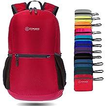 ZOMAKE 20L Ultra Ligera Mochila Plegable de Senderismo Excursión Deportes al aire libre / Bolsa de Viaje, Nylon Impermeable(Rojo grande)