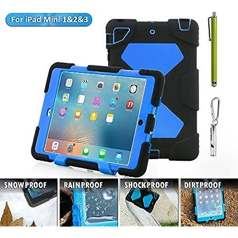 iPad Mini Funda, acegua rder® para niños, antigolpes, impermeable Series para iPad Mini 3/2/1Camo con soporte (Negro), negro azul, iPad Mini Hülle