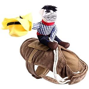 UEETEK-Pet-Costume-Dog-Costume-Clothes-Pet-Outfit-Suit-Cowboy-Rider-StyleFits-Dogs-Weight-under-10KG-Size-M