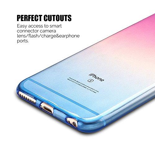 Coque iPhone 6 / 6S (4.7 pouce) , TPU Transparente Case Gradient de couleur Slim Souple Étui de Protection Flexible Soft Silicone Cover Anti Choc Ultra Mince Couverture Bumper Caoutchouc Gel Anfire Ho Violet et Bleu
