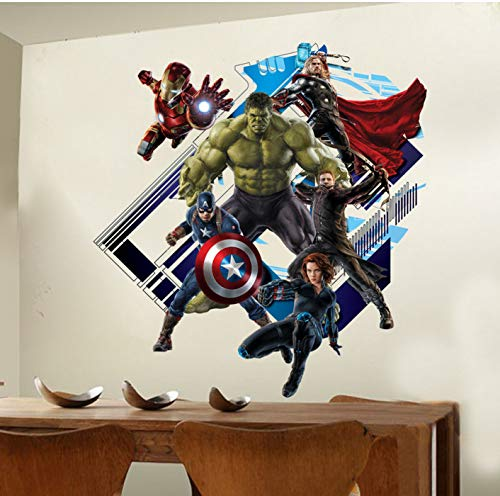 Super Peel (Super Hero Avengers Hulk Peel Und Stick Wandaufkleber Kinderzimmer Aufkleber Cartoon Abziehbilder Wohnkultur Tapete Posterwandaufkleber)