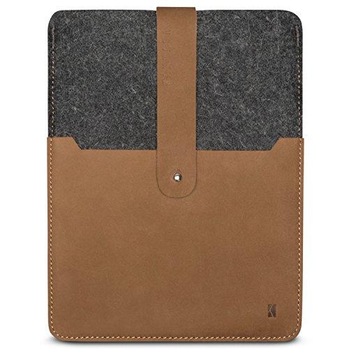 KANVASA iPad Pro 9.7 / iPad/iPad Air 2 Filztasche Woods - Edle Leder Filz Hülle Grau Braun - Vintage Tasche Case Sleeve Ledertasche für Apple iPad Pro 9.7 Zoll - Wollfilz & Echtleder Schutzhülle -
