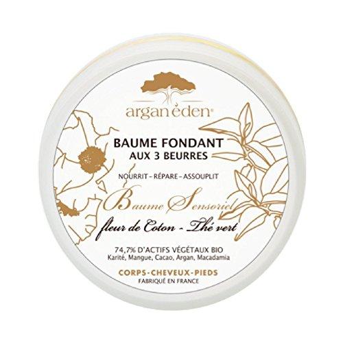 Arganeden Baume Fondant au Beurre de Mangue Karité et Argan Bio Thé Vert et Fleur de Coton Corps Cheveux Mains et Pieds 50 g