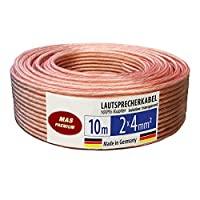 Audio Cable OFC Speaker Cable 100% TRUE Copper (2Cross-section 4mm² 10m Transparent Round M Line Made in Germany