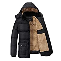 Yaer Mens Winter Jacket,Thicken Plush Warm Fur Waterproof Windproof Outwear Coat