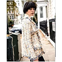 a22ec0373f CY black blue pink white color tweed effect fabric cardigan jacket smart  elegant
