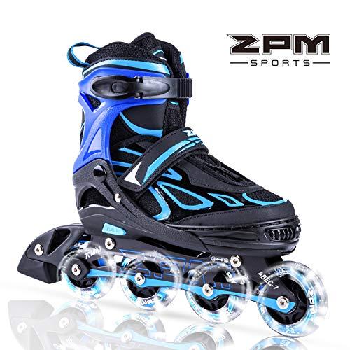 2pm Sports Vinal Azurblau Größe verstellbar Inline Skates für Jungen und Herren, LED-Räder leuchten nachts auf - Azurblau M(33-36)