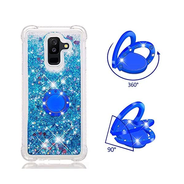 FAWUMAN Liquid Sparkly Quicksand TPU Gel Silicone Shockproof Phone Cover[Diamond Ring] Cases for Samsung Galaxy J8(2018) (Blue love) FAWUMAN 1.Compatible Model:Samsung Galaxy J8(2018), glitter liquid case specially for teenage, girls and women. 2.3D Quicksand creative cover, make your mobile phone Shiny Luxury Sparkle Glitter around.the inside quicksand flowing freely, make your mobile phone special and gorgeous, bring more fun to you. 3.Made of hight quality TPU: Scratch resistant and shock absorbent soft TPU covers all four corners offering all around shock absorbent drop protection keeping phone safe from dents, scratches, and other daily wear. 4