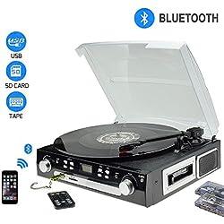 DigitNow! Tocadiscos Bluetooth - plato giradiscos Cassette AM/FM Radio,MP3,USB,SD,3 velocidades, 33/45/78 RPM con Altavoces Incorporados(Pulsación larga alrededor de 5 segundos para encender)