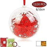 Shinyee Palline di Natale Sfera Plastica Trasparenti Palla Palle da Natalizie Albero Apribili Decorative