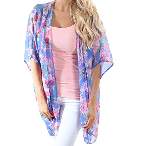 Mujer blusa solar protector manga larga estampado moda playa 2018,Sonnena Blusa para mujer con estampado de flores Blusa traje de baño Beach Bikini Tops Smock Tops playa citas fiesta