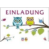 """12 hübsche Einladungskarten """"Eule"""" mit lustigen und fröhlichen Eulen für alle Anlässe wie Geburtstag, Kindergeburtstag oder Party"""