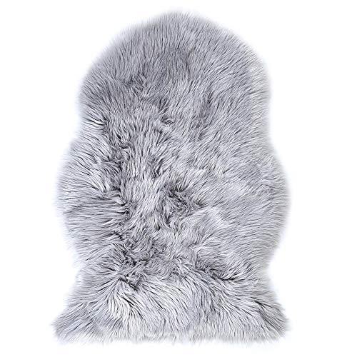 ffell Teppiche Weich Stuhl Abdeckung Werfen Plüsch- Decke Flauschige Wolle Sofa Abdeckung Sitzmatten 6 cm Vlies,Gray,60x90cm(24x35inch) ()