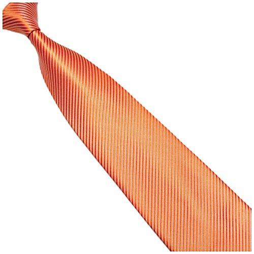 Breite 10cm Krawatte Orange gestreift - Seiden-mischung - Gewebte Streifen - Pastellorange Kravatte zum Anzug - Herren-Krawatte - Schlips - Binder - von GASSANI MILANO