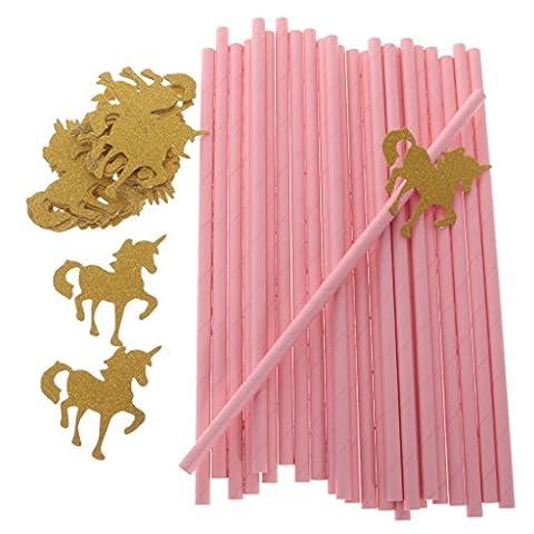 Gazechimp Lot 25pcs Pailles Licorne en Papier Fourniture pour Fête Enfant -Rose Or