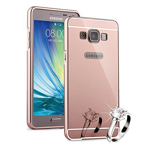SDO™ Mirror Back Cover Case with Acrylic Bumper Frame for Samsung Galaxy On7 / On7 Pro (Rose Gold)