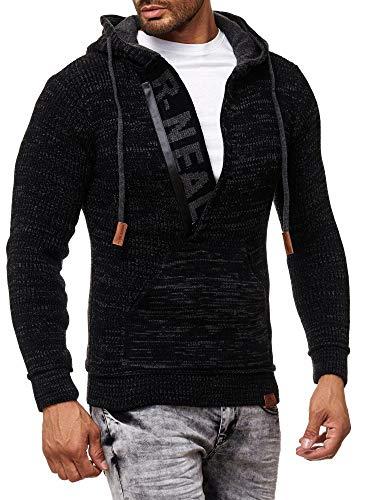 Baxboy Herren Strick-Pullover Zipper Kapuzenpullover Strickjacke mit Kapuze Gr. S bis 4XL RN-13277, Größe:3XL, Farbe:Schwarz/Anthrazit