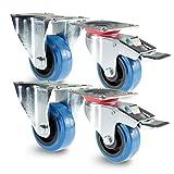 PRIOstahl TR-Set-18 Blue Wheels | 4 Stück | Transportrollen 100mm Lenkrolle mit Bremse / 2 X Bockrolle | Möbelrolle | für Werkbank | Apparaterollen