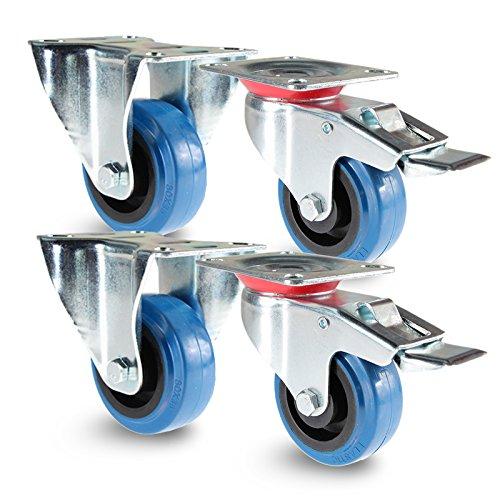 Preisvergleich Produktbild PRIOstahl TR-Set-18 Blue Wheels / 4 Stück / Transportrollen 100mm Lenkrolle mit Bremse / 2 X Bockrolle / Möbelrolle / für Werkbank / Apparaterollen