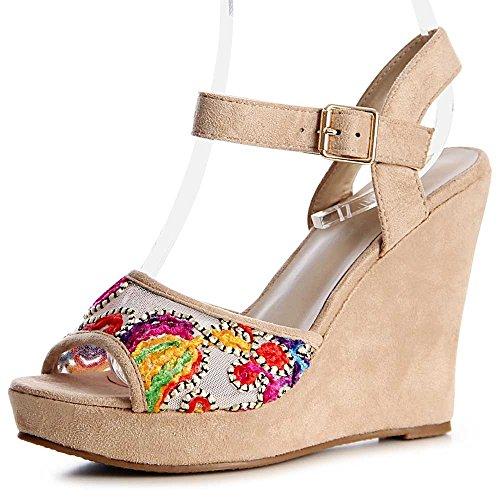 Damen Riemchen Sandaletten Sandalen Keilabsatz 1164 Beige