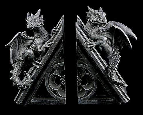 Drachen Buchstützen Set   Deko Figuren Gothic