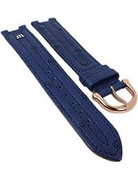 Maurice Lacroix für Calypso/Scala | Ersatzband Uhrenarmband Straußenleder blau matt 30034, Stegbreite:15mm, Schließe:Roséfarben