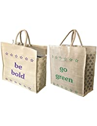SNDIA 2-Pack Reusable Jute Shopping Bag/Grocery/Vegetable/Tote/Hand Bag with Reinforced Handles (17x7x18.5 Inch)