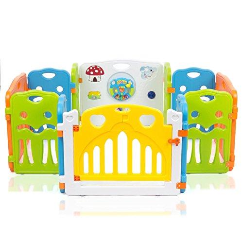Baby Vivo Laufgitter Laufstall Baby Absperrgitter Krabbelgitter Schutzgitter für Kinder aus Kunststoff mit Tür und Spielzeug - COLORS XL erweiterbar - Modell 2018 - 3