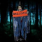 skyblue-uk Halloween deko Zombie Gruselig Hängend Gespenst Augen Glänzend Sound Control Welcomefür Tür deko (Blau)